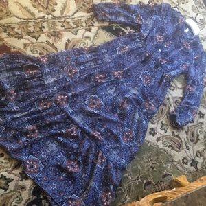 Boho Chic Xhilaration L/S  Ruffle Maxi Dress sz M